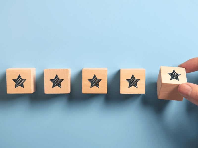 five stars representing quality